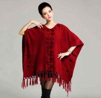 rabbit fur wrap - Hot Sales Real Rabbit Fur Pompom collar trim Pashmina Women knitted wool big size shawl for women Tassels Autumn Winter Wraps