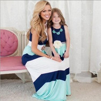 Wholesale Mother Daughter Matching Dress Mom and Baby Girl Clothes Striped Long Dress Mother Daughter Dress Clothes Family Clothing