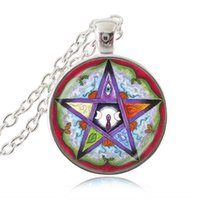 astrology moon - Five Elements Pentagram Necklace Pentacle Pagan Triple Moon Goddess Pendant Five Pointed Star Astrology Jewelry Witch Gothic Jewellery Gifts