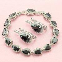 ashley women - ASHLEY Black Sapphire White topaz Sterling Silver Hoop Earrings Bracelet Jewelry Sets For Women Free Gift Box
