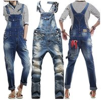 bib overalls for men - Fashion Ripped Mens Bib Overalls Jeans Brand Designer Casual Slim Distrressed Mens Denim Jumpsuit Jeans Pants For Man
