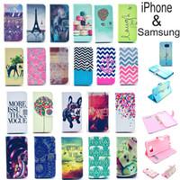 al por mayor diseños cartera iphone-Vogue Diseño de la tarjeta de la cartera de piel de cuero Flip Stand Funda Shell para iPhone 7 6S Plus 6S 5S 4 Galaxy S7 borde Nota 7 5 4 S7 S6 LG HTC