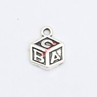 abc dice - Antique Silver Plated ABC Dice Charms Pendant Bracelet Necklace Jewelry Making DIY Handmade x11mm