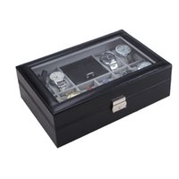 Wholesale High Quality PU Leather Grids Watch Display Box Case Jewelry Bracelet Storage Organizer Holder with A Key Pillows for Gift DHL J1409