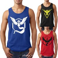 Wholesale Poke Go Team Mens Tank Tops T shirt Men Boys Sports Vest Summer Sleeveless Valor Mystic Instinct Poke Ball Men Sport T shirts Sleeveles