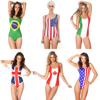 beach wear canada - 3D Flag Print One Piece Bikini Brizil Italy US UK Canada Flag Printed Bikini Swimwear Women Sexy Beach Wear