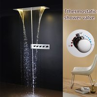 amazing shower head - Amazing Thermostatic Bathroom Bath Shower Faucet Set rectangular mm LED Bathroom Shower Head sensor valve set
