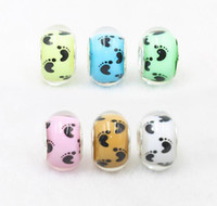 Wholesale DIY Fashion Loose Round lovely feet Bead mm Bead Necklace plastic resin Beads jewelry making blue yellow pink orange white color