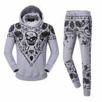 Wholesale High quality New arrivial qp men s qp skull print sports suits Mens fashion hedging tracksuits