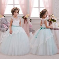 beautiful party dress - 2016 Beautiful Mint Ivory Lace Tulle Flower Girl Dresses Birthday Wedding Party Holiday Bridesmaid Fancy Communion Dresses for Girls