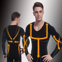 Wholesale Man Long Sleeve Body Shaper Shirt Thermal T Shirts Abdomen Slimming fajas modeladoras reductoras nylon spandex black shapewear