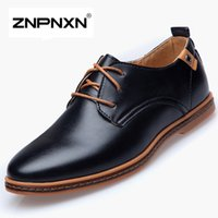 Wholesale ZNPNXN Big Size Mens Flats Shoes PU Leather Shoes Men Oxfords Shoes Black Casual Shoes For Men Zapatos Hombre