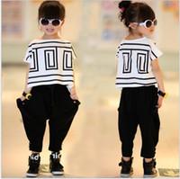 bats double - 2016 Summer Big Girls Clothes Sets Children Short Sleeve Loose Bat T shirt Black Harem Pants Kids Outfits Girl Casual Suits cm
