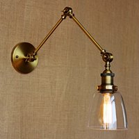 Wholesale Long Arm Clear Glass Wall Light Retro Vintage Exclusive Hotel Lobby Bedroom Bedside RACK Antique Bronze Decorative Wall Sconce