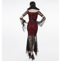 banshee movie - 2016 new Halloween witch queen witch costume gothic banshee spider black vampire dress costume cosplay suit
