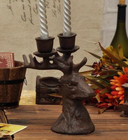 Wholesale 2 Pieces light Cast Iron Moosehead Candle Stand Candlestick Candle Holder Metal Desk Table Decor Home Supplies