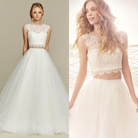 Cheap Stunning 2017 Beach Wedding Dress Country Style Two Pieces Bohemian Boho Bridal Gowns Illusion Neck Lace Crop Top Floor Length Tulle Skirt