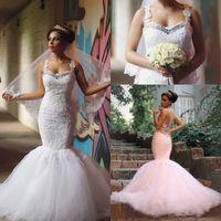 Wholesale Gorgeous Vintage Mermaid Lace Wedding Dresses Spaghetti Straps Arabic Said Beaded Appliqued Long Tulle Bridal Gowns Vestidos de novia