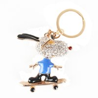 animal roller bag - Roller Skates Glasses Blue Dog Lovely Pendant Charm Crystal Purse Bag Key Chain Auto Accessories Creative Gift