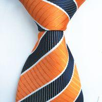 Wholesale 2016 Latest Style Tie Man Orange Blue Striped Design Professional White Collar Tie Student Graduation Tie