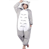 Wholesale Totoro Unisex Adults Casual Flannel Hooded Pajamas Cosplay Cartoon Animal Onesies Sleepwear For Women Men