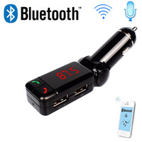 Wholesale BC06 BC Wireless Bluetooth Car Kit FM Transmitter MP3 Player mm Audio AUX TF card Slots Dual USB Car Charger For iPhone Samsung GPS