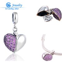 Wholesale 925 Sterling Silver Charms Beads For Pandora Bracelets Open Heart With Full Pink Crystals Engrave I LOVE YOU Women DIY Necklace Pendant S050
