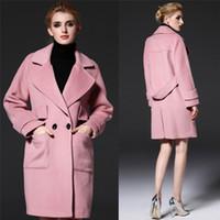 Pink Mediumn largo invierno de los abrigos para las mujeres de la solapa del cuello chaquetas largas Lana Mezclas capa doble de pecho de las mujeres del