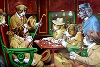 ace life - HIS STATION AND FOUR ACES DOGS PLAYING CARDS Genuine Handpainted Coolidge Art oil Painting On Canvas Museum Quality customized size bb