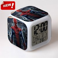 america alarm - America hero spider man peripheral products the amazing Spider Man character model LED colorful touch alarm clock