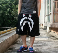 Wholesale Men s Japan Camo Monkey Pattern Medium Shorts Shark Jaw Pants Black
