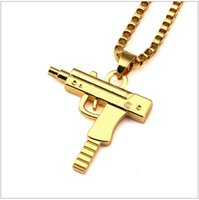 hip hop chain - Hot Sale PC Uzi Gold Chain Hip Hop Long Pendant Necklace Men Women Fashion Brand Gun Shape Pistol Pendant Maxi Necklace HIPHOP Jewelry