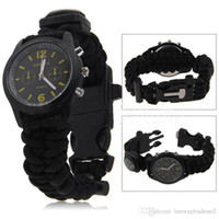 paracord bracelets - 5 in Outdoor Travel Kit Camping Flint Fire Starter Compass Watch Whistle Survival Gear Paracord Bracelets Cutting Knife Rescue Rope