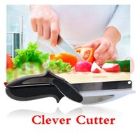 Wholesale Clever Cutter in Stainless Steel Kitchen Scissors with Sharp Knife Blade Cutting Board Kid Food Cutter for Meat Vegetable HHA1024