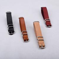 Wholesale NATO Genuine Leather Watch Strap Black Beige Brown mm mm mm Watch Belt Stock Quality Men Women Watches Band Brand