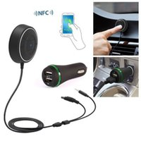 Wholesale Bluetooth Car Kit NFC Music MP3 Receiver Bluetooth Handsfree Speakerphone Calls mm Aux Input Dual USB car bluetooth wireless speakerphone