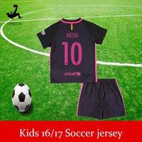 Wholesale Kids Soccer Jerseys Sets youth boys child kits Messi Suarez kids boys child soccer jerseys youth best football shirt football set kit