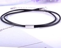 Wholesale Factory new arrival leather cord necklace with sterling silver cube necklace simple and fresh Korea style