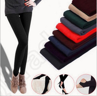 Wholesale Women Fleece Leggings Thicken Winter Super Elastic Soild Color Slim Leggings Casual Faux Velvet ankle length Legging Knitted OOA866