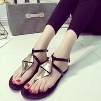 adorn buckles - 2016 summer new sheetmetal adorn Flip Flops flat sandals thong sandals Bohemian fashion Shoes