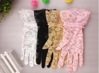 Cheap Women Wedding Bridal Lace Gloves Accessories Bride Tulle Flowers Hollow Short Ruffles Glove Car Drive Sun Protection Hand Wear