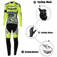 Wholesale Flour Yellow Saxo Bank Autumn Cycling Jerseys Ropa Ciclismo Cycling Clothing Full Finger Gloves UV Glasses Fleece Mask