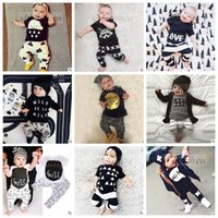 Girl Spring / Autumn Cotton Blends Kids Ins Suits T Shirts+Pants Baby Ins Tops+Trousers Summer Ins Outfits Fashion Shirts+Harem Pants Ins Baby Clothing Romper 20 Color A880 50