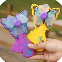 Wholesale Cute butterfly portable hand pressure small fan hand held manual low carbon environmental palm mini fan without battery