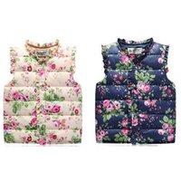 Wholesale 2016 New Children Winter Down Cotton Vest Coats Flowers Printed Waistcoat Kids Windbreaker Jacket Cotton Coats Girls Warm Vest