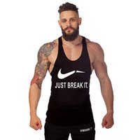 Wholesale Just Break it Y Back Professional Sports Gym Tanks Mens Sports Tops Bodybuilding and Fitness Men s Singlets GYM Tank Sports