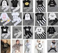 Wholesale DHL free sets Fashion baby clothing baby short long sleeve clothing sets Hot sale design baby sets Baby top pant suit for years