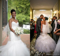 american models trains - 2016 Top Sale Backless Mermaid UK Wedding Dresses Vintage Sweetheart Tulle Ruffles Tiered Skirts Sexy African American Bridal Gowns Bandage