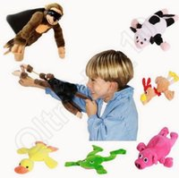 Wholesale Slingshot Plush Flying Monkey Soft Cute Animal Pig Duck Frog Cow Funny Kids Gift styles Finger Toys OOA879