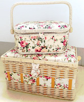 basket with handles - Fashionable Fabric Sewing Basket Hosehold storage workbox Large Standard Small sizes with handle Eight fabric parrtern optional on sales
